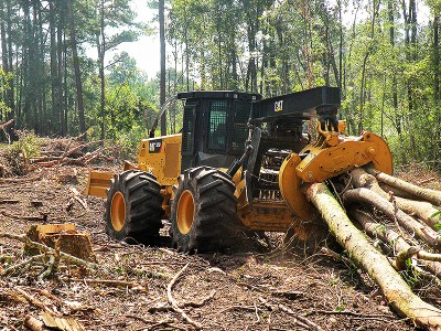 New Timber Skidder Moving Logs at Choctaw Land & Timber of Northwest Florida and South Alabama